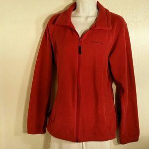 Columbia Burnt Orange Fleece Jacket. L